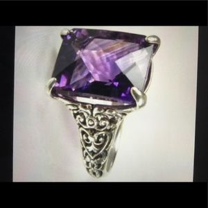 Jewelry - .927 Filigree 7ct Checkerboard Amethyst Ring 6.25
